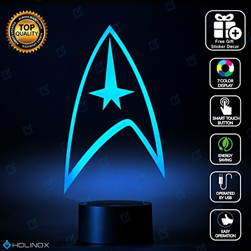 Star Trek Lighting Decor Gadget Lamp + Sticker Decor for Perfect Set, Awesome Gift (MT015) By Holinox