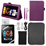 Llamamia Kindle Fire Hd 7 Leather Case Cover Bundle in Retail Packaging-leather Case + Car Charger + Cable + Bag + Screen Protector+ Stylus Pen (Purple, Kindle fire HD 7)