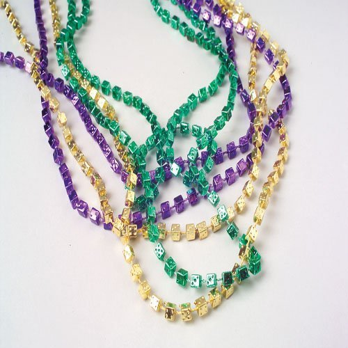 Lot Of 12 Assorted Mardi Gras Dice Theme Beaded Necklaces - 1
