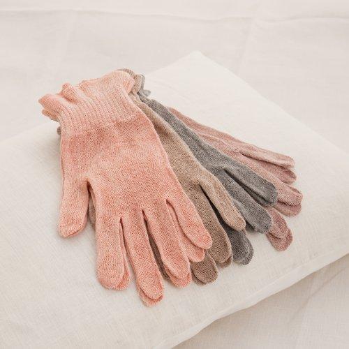 麻福 麻福 ヘンプ おやすみ 手袋 べんがら 手染め 代赭色