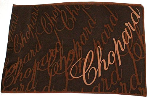 chopard-brauner-seidenschal-60-x-186cm-mit-schriftzug-seidentuch-scarf