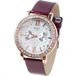Quartz PU Leather Wrist Watch Analog Watch Timepiece with Rhinestones & 3 Sub-Dials Decor for Woman Lady - Purple SWWM4-58497