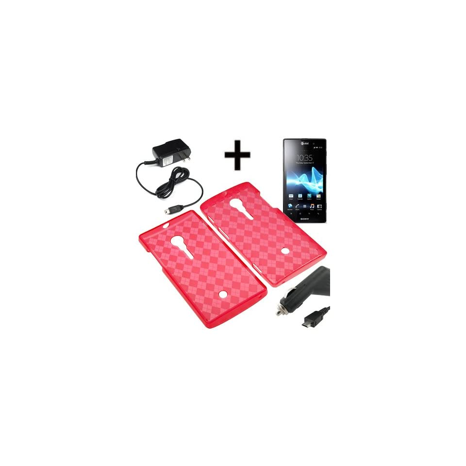 BW TPU Sleeve Gel Cover Skin Case for AT&T Sony Xperia Ion LT28 + Car + Home Charger Red Checker