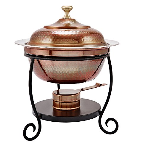 Old Dutch 838 Round Antique Copper Chafing Dish, 1-3/4-Quart, 10 by 12-1/4-Inch
