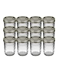 Ball 81200 Can or Freeze Quilted Crystal Jelly Jars, 8oz, Silver Lids by