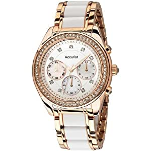 Accurist LB211W Ladies White and Rose Gold Chronograph Watch