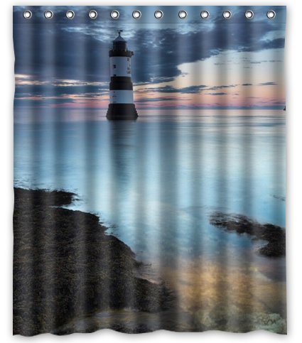 Standard Store Custom Beautiful Lighthouse Scenery Waterproof Fabric Polyester Shower Curtain 60