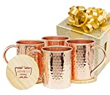 Advanced Mixology Moscow Mule Gift Set 100% Pure Copper 1/2 Pound Mugs (Set of 4)- 16 Ounce with 4 Artisan Hand Crafted Wooden Coasters-Classic