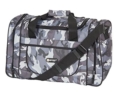 "Mens Boys Hi-Tec Camouflage Small-Large Holiday Weekend Gym Hand Luggage Flight Cabin Holdall Bag (18"")(Desert/Green/Grey) (Grey) by hi tec"