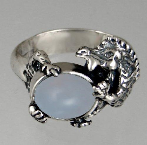 Sterling Silver Dragon Ring Featuring a Genuine Blue Lace Agate Made in America