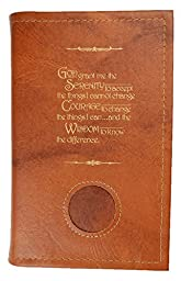 Alcoholics Anonymous AA Soft Paperback Big Book Cover Serenity Prayer & Medallion Holder Tan