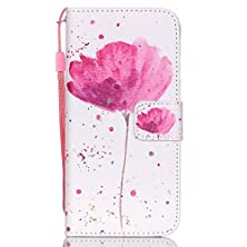 buy Iphone 6S Case, Stand Feature Wallet Function Genuine Natural Leather Wallet Case Cover With Stand Folio Flip Case Cover For Apple Iphone 6 (4.7 Inch) (Flower)