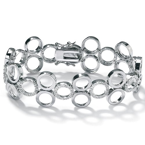 PalmBeach Jewelry Cubic Zirconia Circle Platinum