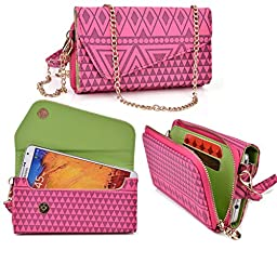 Women\'s Wristlet Clutch Blu Studio 5.0 D530 with Credit Card Holder & Removable Crossbody Chain| Tribal Aztec Mayan Pattern| Strawberry Pink Raspberry Sorbet Mint Green + ND Cable Tie
