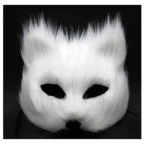 Wed2BB White Fox Face Mask Costume Pro For Masquerade Halloween Theme Party