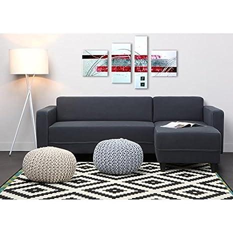 Sofá de esquina reversible 4 plazas 205 x 141 x 70 cm, diseño Art et Jardin Kulma-paño, color gris