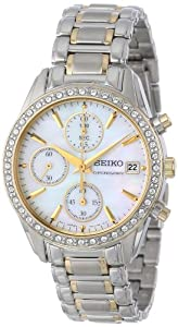 Seiko Chronograph Mother Of Pearl Dia 2-tone Stainless Steel Band Ladies Watch