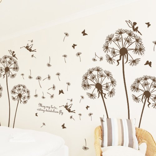 Removable Room Office Stickers Dandelion In Wind Words Art Mural Vinyl Sticker Wall Art Decal WallPaper Wall stickersFor Room Home Decoration
