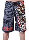 New Ed Hardy Mens Burning Tiger Poly Board Shorts Trunks (34, Black)