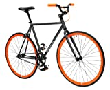 Critical Cycles Fixed Gear Single Speed Fixie Urban Road Bike (Gray/Orange, Medium)