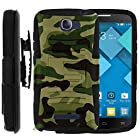 MINITURTLE, 2 in 1 Hybrid Dual Layer Armor Phone Case Cover with Kickstand, Holster Belt Clip, and Screen Protector for Android Smartphone Alcatel One Touch Fierce 2 7040T /T Mobile /MetroPCS, POP ICON A564C /Straight Talk /TracFone (Green Camouflage)