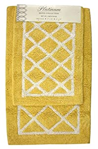 Yellow And White Lattice Bath Rug Set