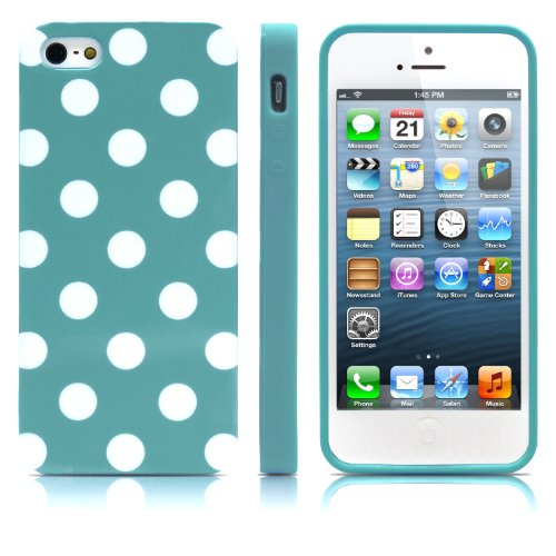 iPhone 5S Case, MagicMobile® Ultra Slim Thin Durable Fashion Cute Glossy Cover for iPhone 5 TPU Polka Dot Pattern iPhone 5S Case [Dual Color: Turquoise - White] (Lifeproof Ipod 5 Case Inserts compare prices)