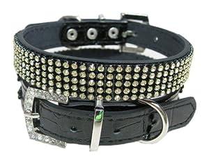 "Bella's Swarovski Gold Crystal Luxury Leather Rhinestone Dog Collar, Black - Small 13"""
