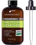 Nail Polish Remover 100% Natural - USDA Bio-certified Non-Toxic, Acetone-Free Nail Polish Remover, Effective UV Gel Nail Polish Remover Won't Dry Nails, Moisturizes Cuticles Strengthens Weak Nails 4oz