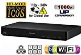 PANASONIC DMP-BD91 Built-in Wi-Fi Multizone All Region Code Free DVD Blu ray Player - 1 USB, 1 HDMI, 1 COAX, 1 ETHERNET + 6 Feet HDMI Cable Included. Small Size (W x D x H) 199 x 193 x 42 mm. 100~240V 50/60Hz Int'l Version with EU/UK Power Plug (2m HDMi