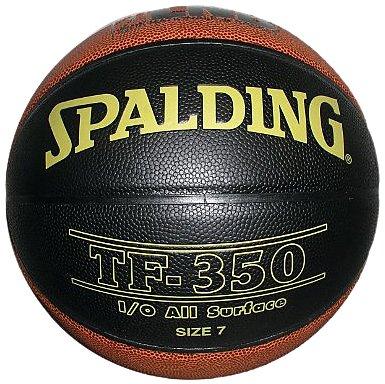 Spalding LNB TF350 - Pallone da basket unisex per adulti, nero (Nero/Arancione), 5