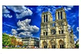 CATHEDRAL NOTRE DAME DE PARIS poster 24X36 blue sky Famous landmark FRANCE