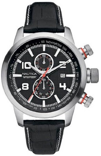 Nautica Mens Watch A18546G NCT 400 Chronograph with Black Leather Strap and Black Dial