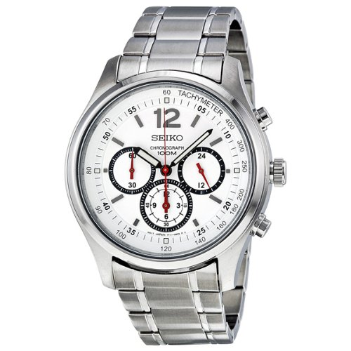 Seiko Men's SRW007 Chronograph White Dial Stainless Steel Watch Reviews