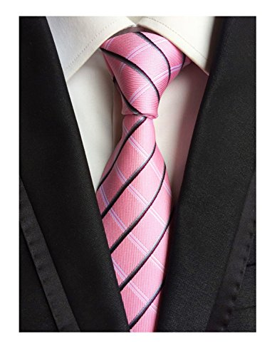 MENDENG Woven Classic Check Business Tie Men's Party Necktie Formal Plaid Ties