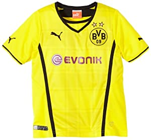 PUMA Kinder BVB Trikot Kids Home Replica Shirt, Blazing Yellow/Black, 128 (UK 24/26) (FRA 8) (ITA 128), 743563 01