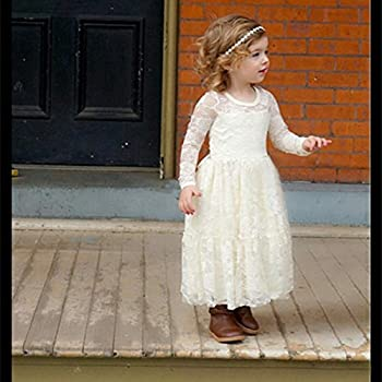 Vintage A-line Lace Girl Pageant Communion Dress 2-12 Year Old White