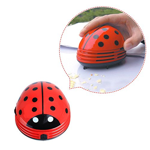 Aimeio Mini Portable Keyboard Cleaner Robot Desktop Computer Clean Tool Dust Collector Electric Battery Operated Kawaii Beetle Cleaner(Red Beetle) (Ladybug Office Supplies compare prices)