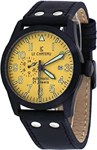 Le Chateau #7081MGUN_YEL Men's Dynamo Collection Yellow Dial Leather Automatic Watch
