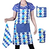 Suam Cotton Printed Blue Apron, Oven Mitt Glove, Pot Holder & Napkin Set