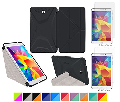 "Galaxy Tab 4 7.0"" Case, Roocase Origami 3D Slim Shell Case [Granite Black/Cool Gray] Folio Cover Bundle With 4-Pack Screen Protector For Samsung Galaxy Tab 4 7.0"