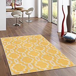 Rubber Backed 2-Piece Rug SET Fancy Moroccan Trellis Yellow & Ivory Area Non-Slip Rug - Rana Collection Kitchen Dining Living Hallway Bathroom Pet Entry Rugs RAN204YLW-2PC