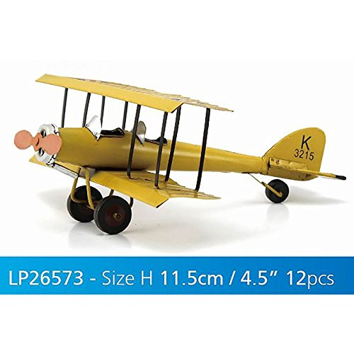 Lesser & Pavey 12-Piece Metal Bi-Plane Collectible, Yellow