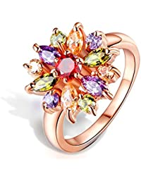 Peora Colorful Rose Gold Plated Cubic Zirconia Ring Jewellery For Women And Girls, Engagement Anniversary Gifts...