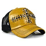 LOCOMO PU Leather Mesh Back Hedgehog Rivet Cross Snapback Cap FFH133s01YEL by NYC Leather Factory Outlet
