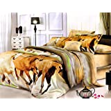 BLENZZA DECO 3D POLYCOTTON DOUBLE BED BEDSHEET WITH 2 PILLOW COVERS