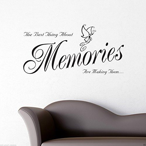 wandsticker 39 memories zitat auf englisch 39 schablonen. Black Bedroom Furniture Sets. Home Design Ideas