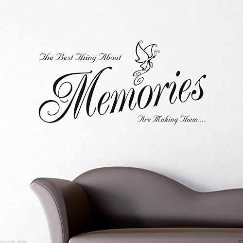wandsticker 39 memories zitat auf englisch 39 schablonen. Black Bedroom Furniture Sets. Home Design Ideas