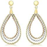Carissima Gold Damen-Ohrhänger 9ct 3 Plat Weave Drop Earrings 375 Tricolor - 3.54.3449