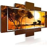 Bilder 200x100 cm - XXL Format - Fertig Aufgespannt - TOP - Vlies Leinwand - 5 Teilig - Wand Bild - Kunstdruck - Wandbild - Afrika 5719 200x100 cm B&D XXL